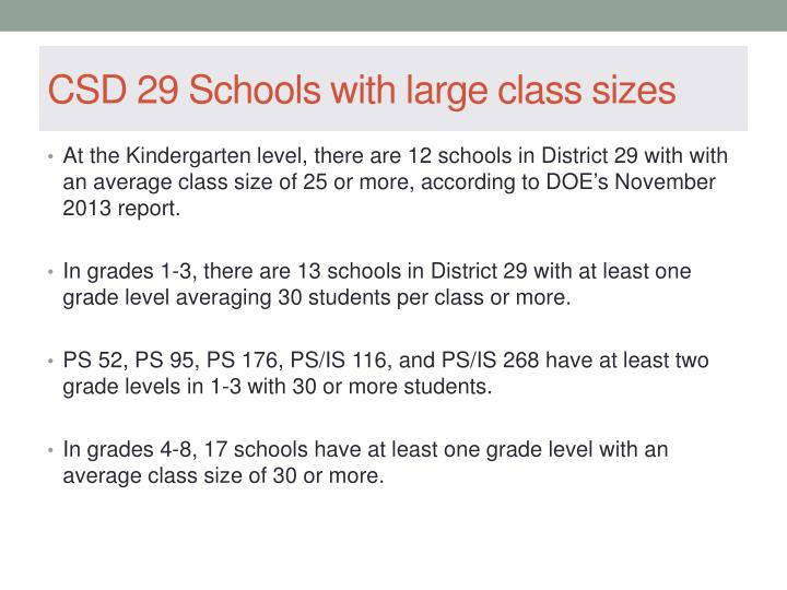 CSD 29 Schools with large class sizes