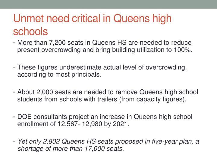 Unmet need critical in Queens high schools