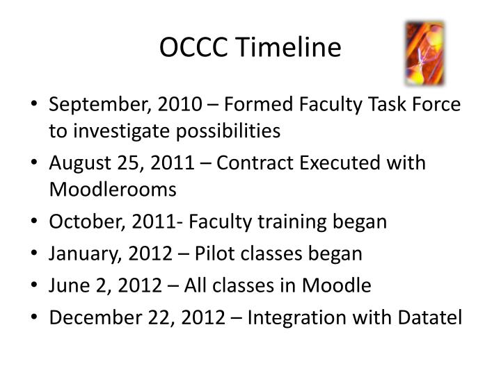 OCCC Timeline