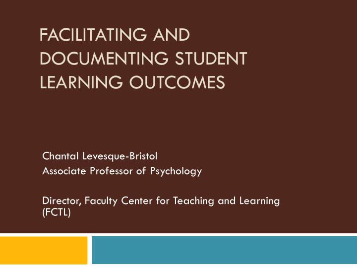 Facilitating and documenting student learning outcomes