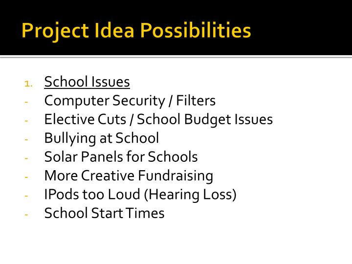 Project idea possibilities1