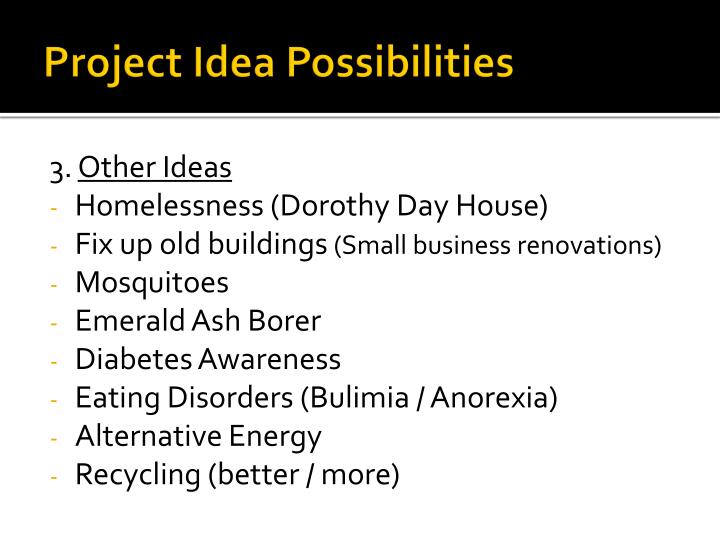 Project Idea Possibilities