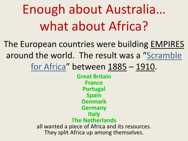 Enough about Australia… what about Africa?