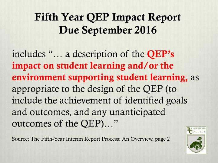 Fifth Year QEP Impact Report