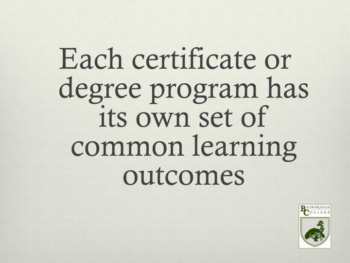 Each certificate or degree program has its own set of common learning outcomes