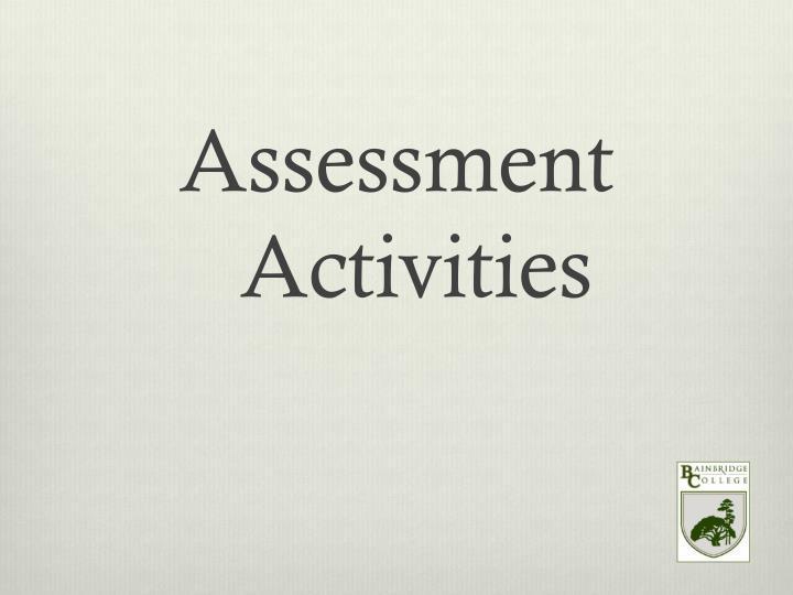 Assessment Activities