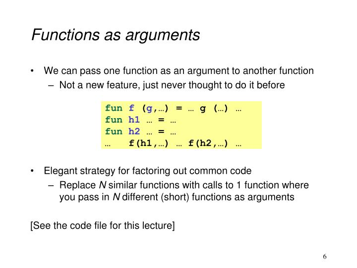 Functions as arguments
