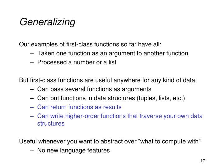 Generalizing