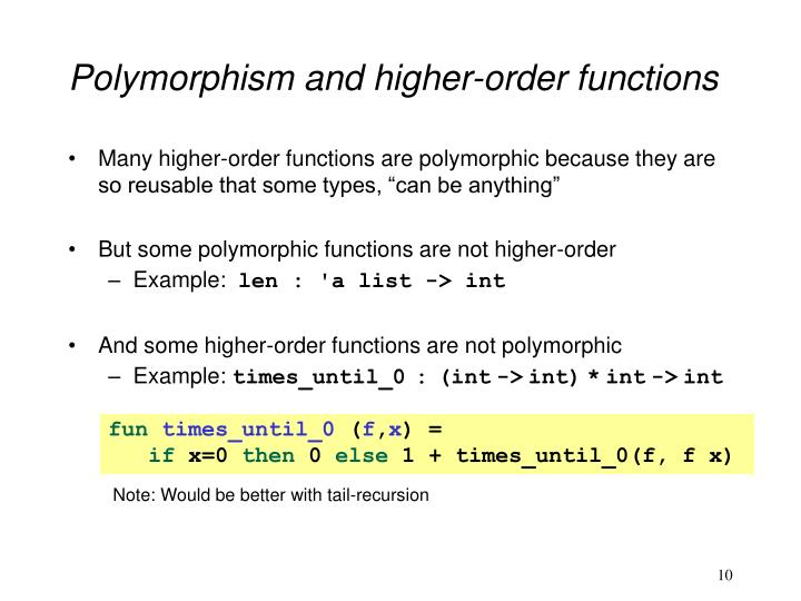 Polymorphism and higher-order functions