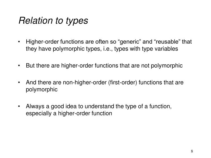 Relation to types