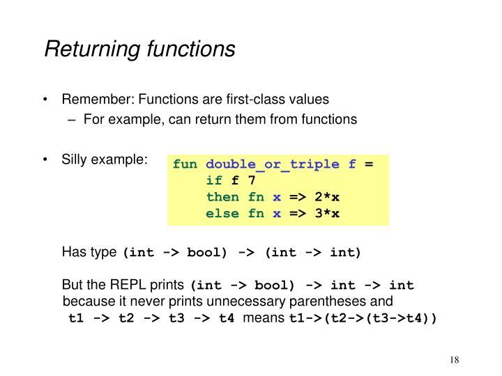 Returning functions