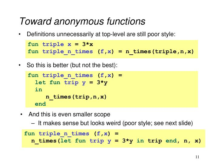 Toward anonymous functions