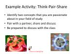 example activity think pair share