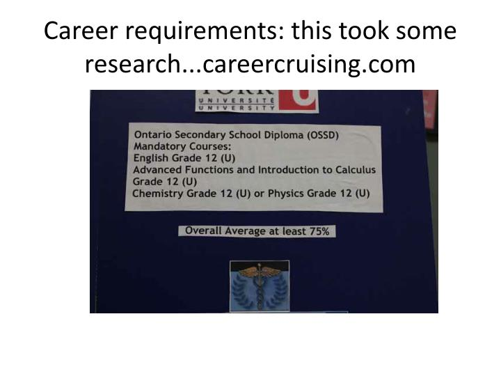 Career requirements: this took some research...