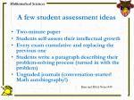 a few student assessment ideas