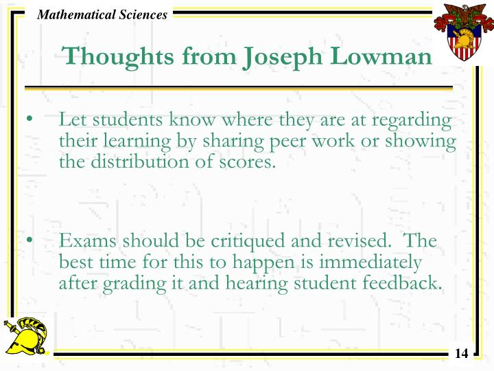 Thoughts from Joseph Lowman