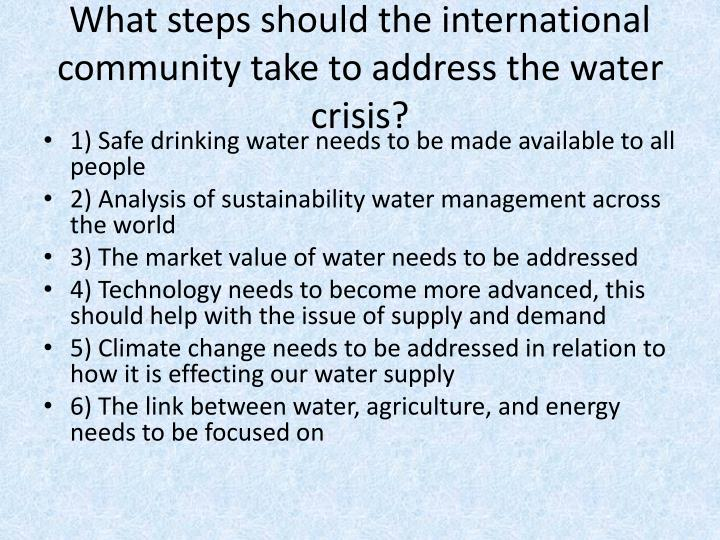 What steps should the international community take to address the water crisis?