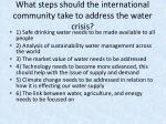 what steps should the international community take to address the water crisis