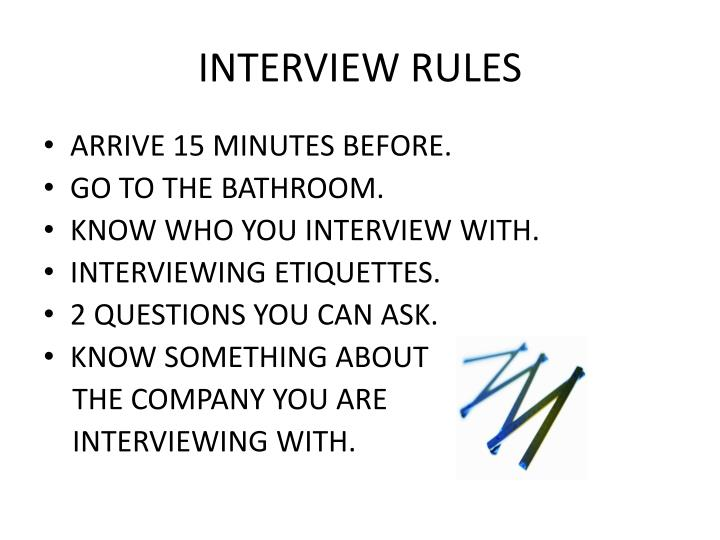 INTERVIEW RULES