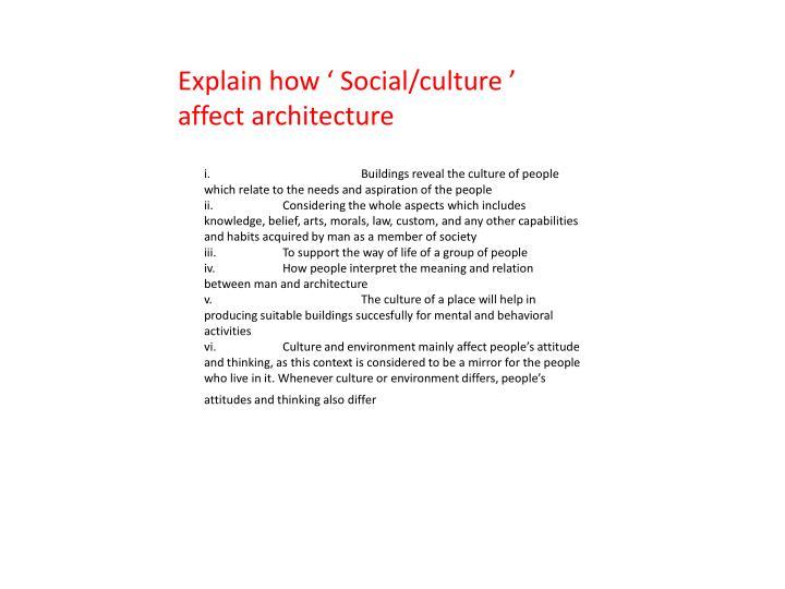 Explain how ' Social/culture '
