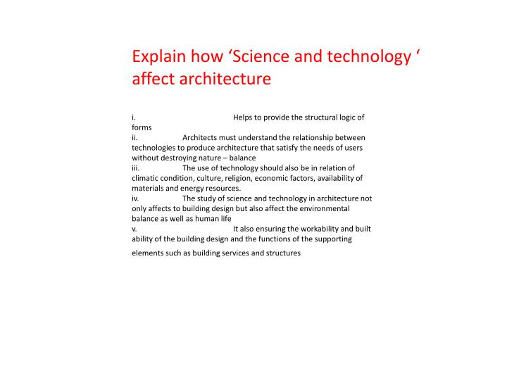 Explain how 'Science and technology '