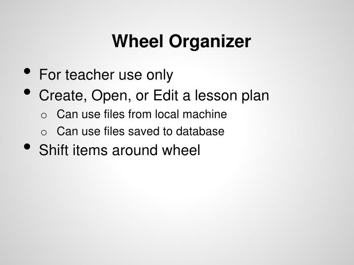 Wheel Organizer