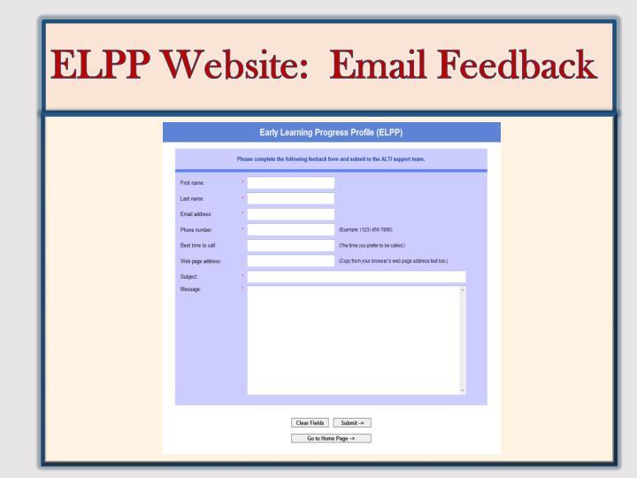 ELPP Website:  Email Feedback