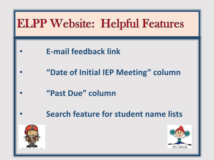 ELPP Website:  Helpful Features