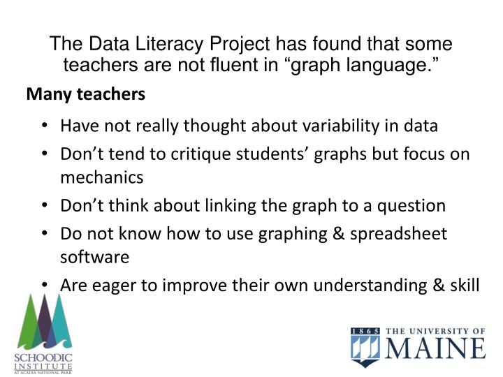 """The Data Literacy Project has found that some teachers are not fluent in """"graph language."""""""