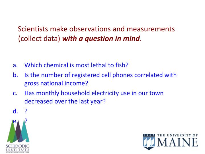 Scientists make observations and measurements (collect data)