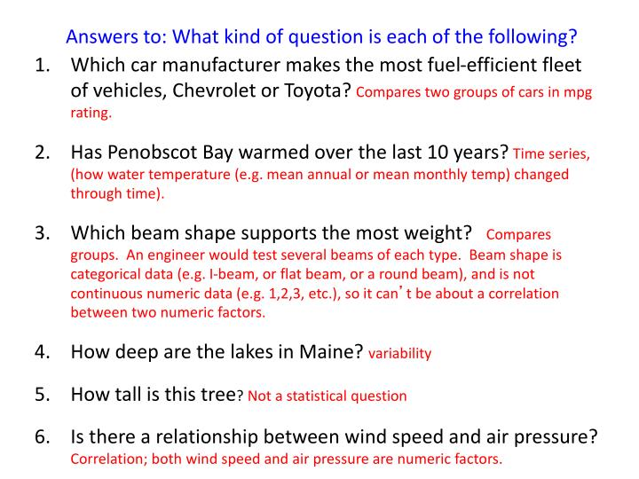 Answers to: What kind of question is each of the following?