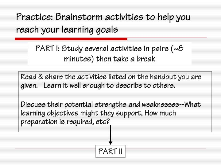 Practice: Brainstorm activities to help you reach your learning goals