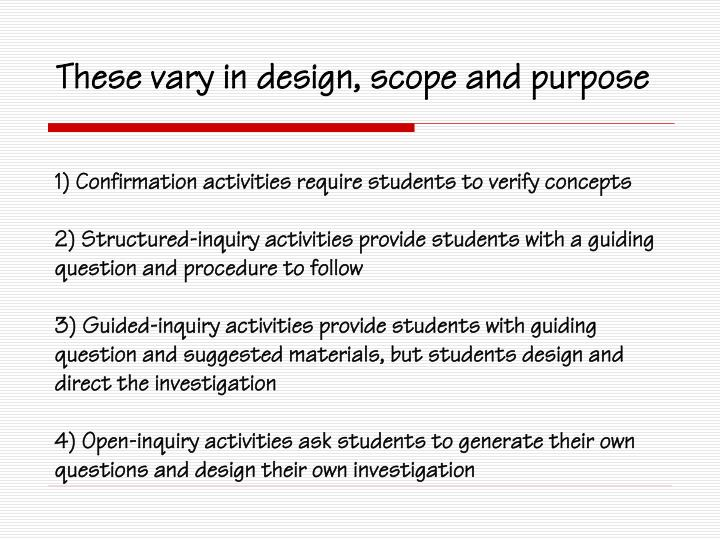 1) Confirmation activities require students to verify concepts