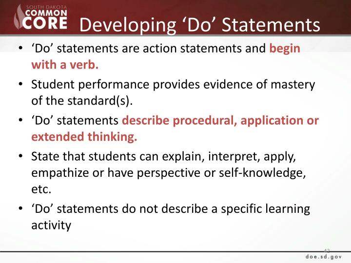 Developing 'Do' Statements