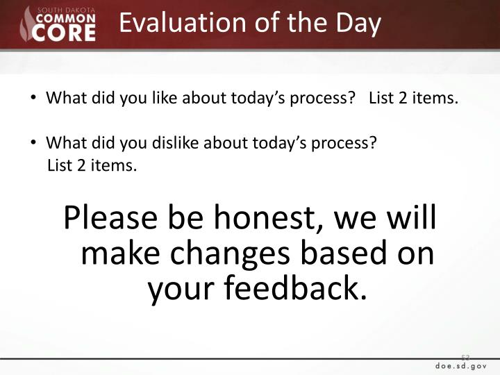 Evaluation of the Day