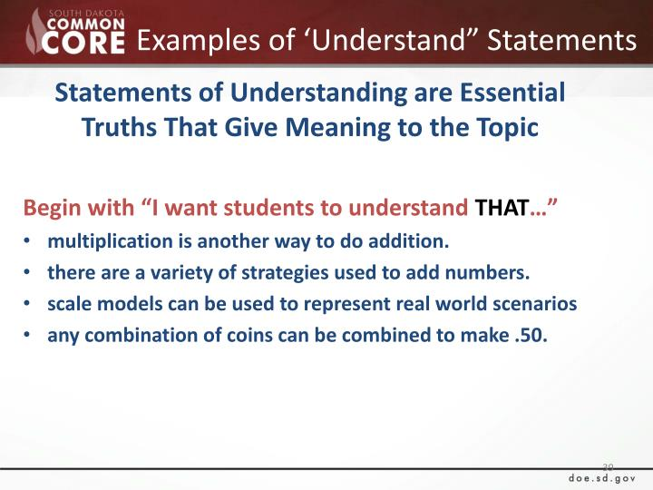 "Examples of 'Understand"" Statements"