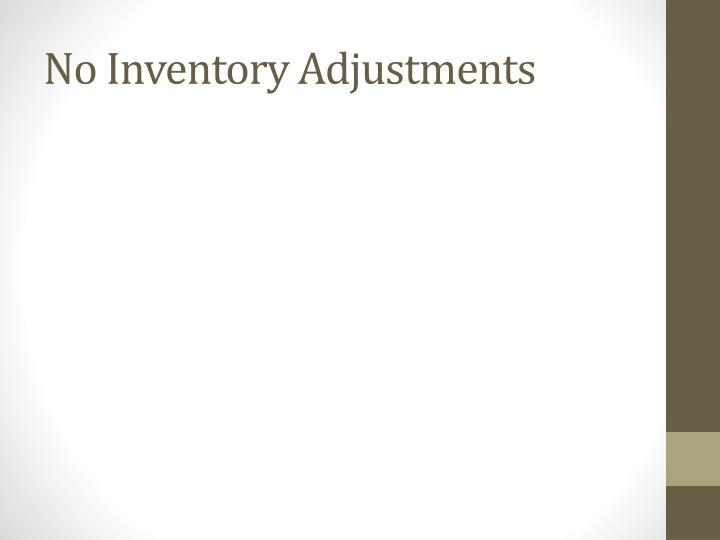 No Inventory Adjustments