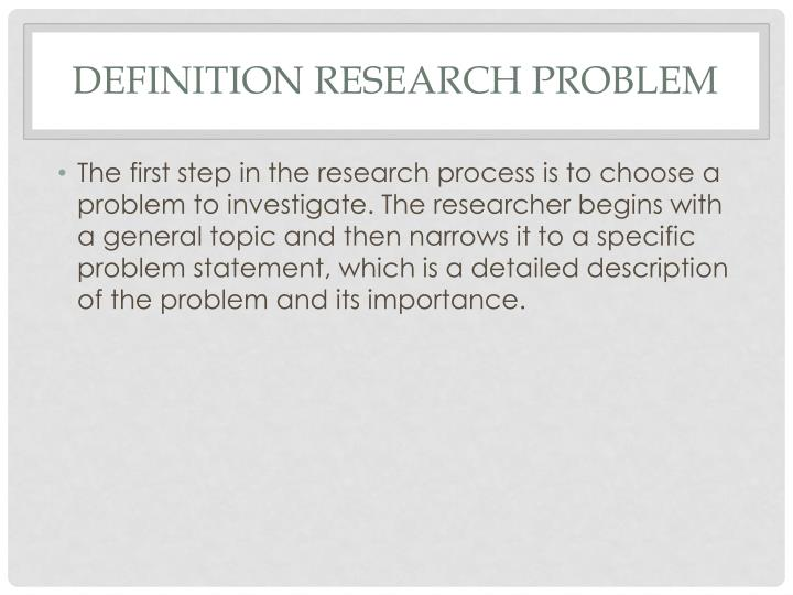 Definition research problem