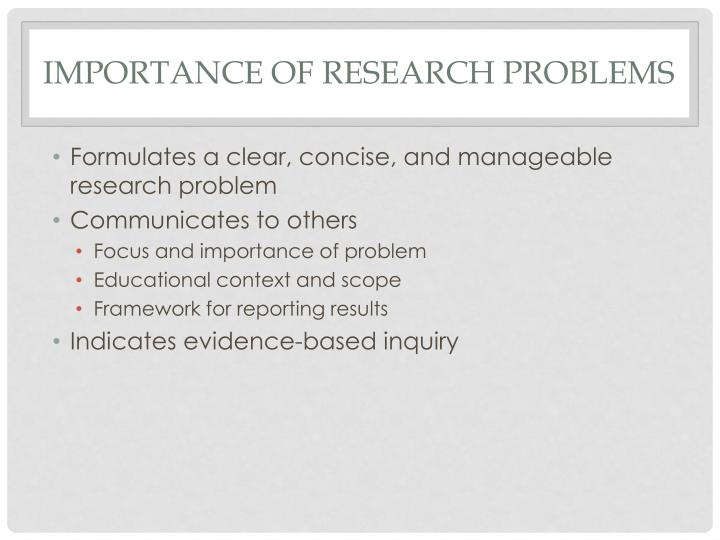 Importance of Research Problems