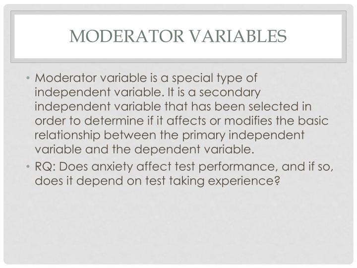 Moderator variables