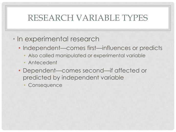 Research Variable Types