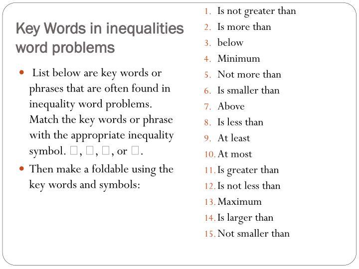 Key Words in inequalities word problems