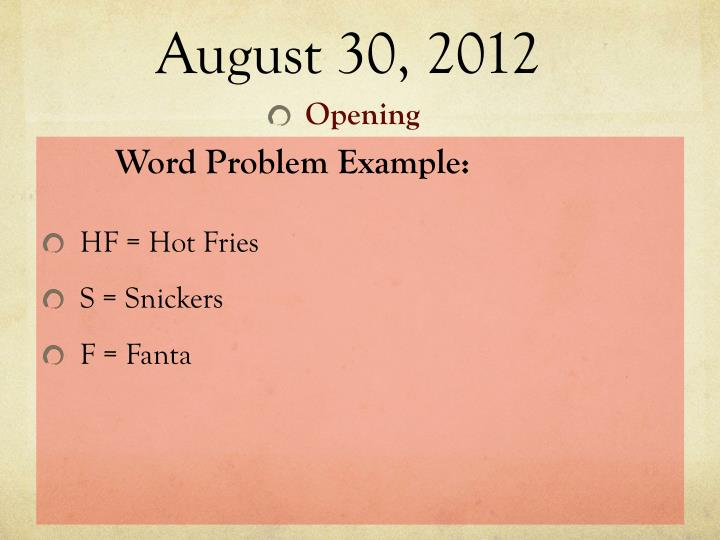 August 30, 2012