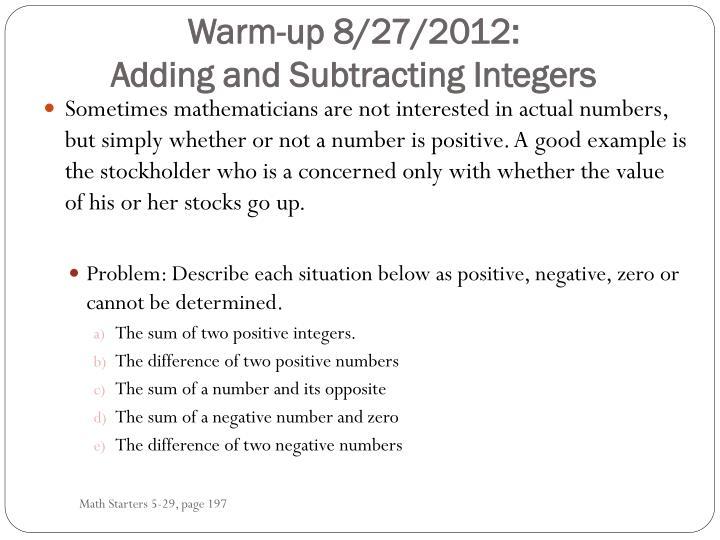 Warm-up 8/27/2012: