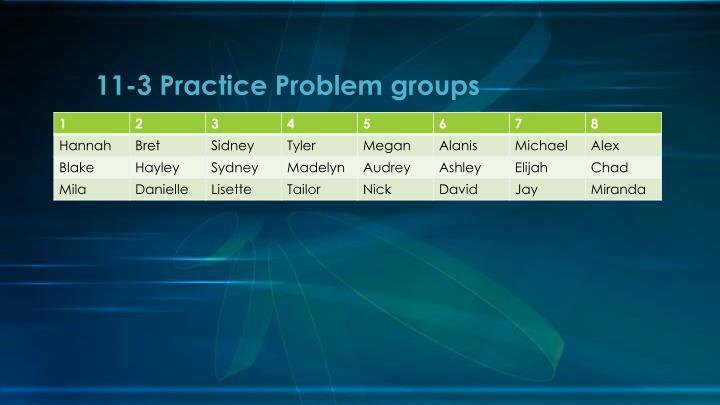 11-3 Practice Problem groups
