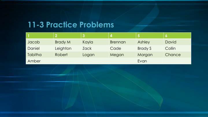 11-3 Practice Problems