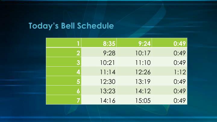 Today's Bell Schedule