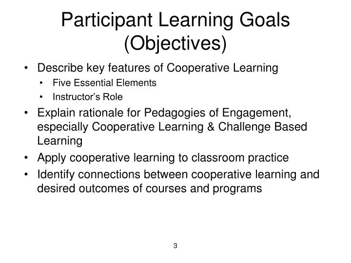 Participant learning goals objectives