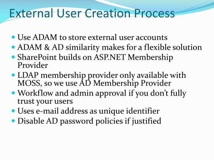 External User Creation Process