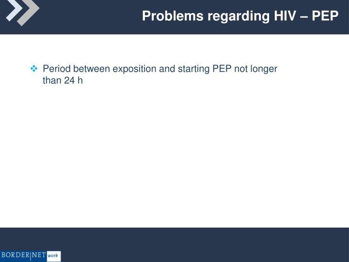 Problems regarding HIV – PEP